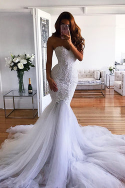 White Mermaid Sweetheart Sweep Train Tulle Lace Appliqued Wedding Dresses N1435