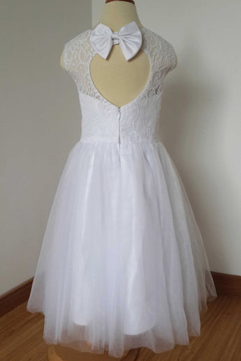 White A Line Sleeveless Tulle Flower Girl Dress with Bow, Lace Flower Girl Dresses