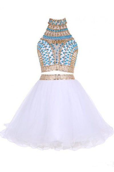 Two Piece Jewel Tulle Homecoming Dress with Beads, White Short Mini Prom Dress