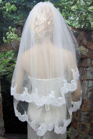 Two Layers Tulle White Lace Appliqued Wedding Veil with Comb, Cheap Bridal Veil