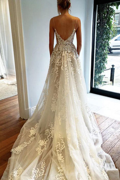 Sexy Deep V neck Wedding Dress,Lace Wedding Dress,Open Back Bridal Dresses,Spaghetti Straps Wedding Gown,Beach Wedding Dress N74