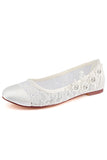 Ivory Flat Lace Wedding Shoes with Crystal, Wedding Party Shoes, Fashion Woman Shoes