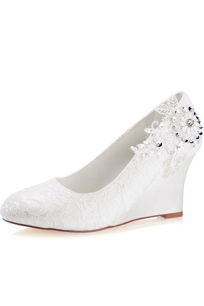Ivory Wedge Lace Wedding Shoes with Sequins, Wedding Party Shoes, Fashion Woman Shoes