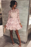 Mini Long Sleeve Jewel Homecoming Dress, Cute Sweet 16 Dress, A-line Lace Cocktail Dress,N755