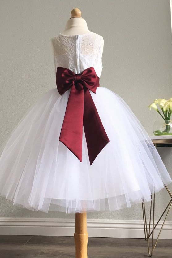 White Long Tulle Flower Girl Dress with Burgundy Sash, Puffy Sleeveless Dress with Bowknot F053