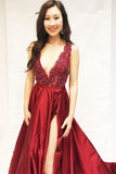 Burgundy V Neck Split Long Prom Dresses, A Line Cheap Formal Dress with Slit N1133