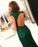 Sexy Side Slit Cap Sleeves Emerald Green Sequins Open Back Mermaid Evening Gowns,N68