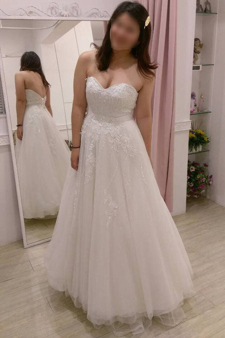 Ivory Floor-length Sweetheart Tulle Beach Wedding Dress with Lace Appliques,Bridal Gown,N443