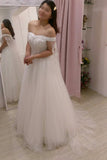 Ivory A-line Floor-length Off-the-shoulder Tulle Bridal Dress with Shoulder Yarn,N445