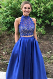 Two Piece Royal Blue High Neck Sleeveless Satin Floor-length Prom Dress with Lace,N420