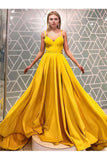Simple A Line Spaghetti Straps Yellow Prom Dresses, Cheap Long Formal Dress N2470