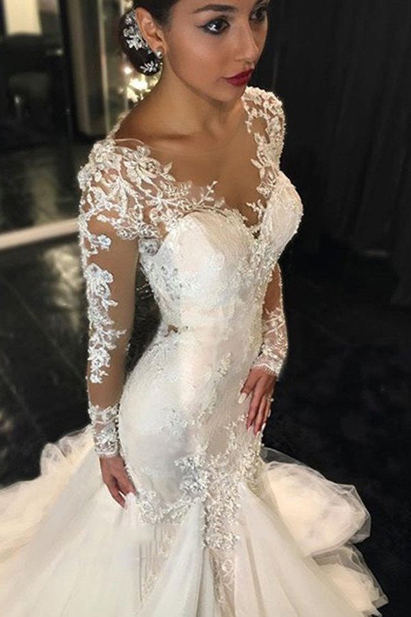 Long Sleeves Wedding Dress,Gorgeous Court Train Wedding Gown,Ivory Wedding Dress With Lace Appliques,Mermaid V-neck Bridal Dresses
