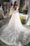 Unique Sweetheart Wedding Dresses, Puffy Lace Appliqued Backless Beach Wedding Dress N1781