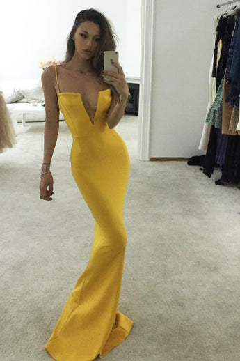Unique Yellow Spaghetti Straps Notched Mermaid Prom Dress,Sexy Prom Gown,N679