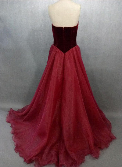Sexy A line V-Neck Prom Dress,Noble Strapless Evening Dress,Organza Prom Dresses N47