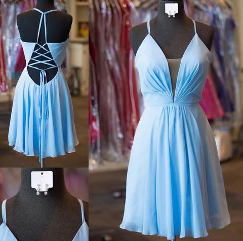 A-Line Halter Criss-Cross Straps Blue Chiffon Homecoming Dress with Pleats,Short Blue Dress,N335