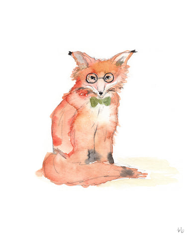 Fox with Glasses - Watercolor