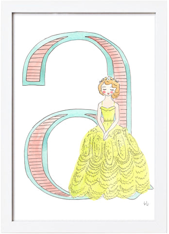 Watercolor Princess Letter - A