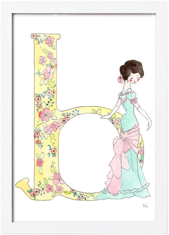 Watercolor Princess Letter - B