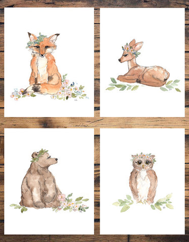 4 Woodland Animals Set