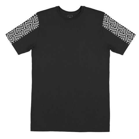 Patterned Sleeve T-Shirt Black