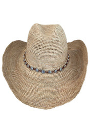 Iridescent Sea Raffia Hat with Shell Hat Band