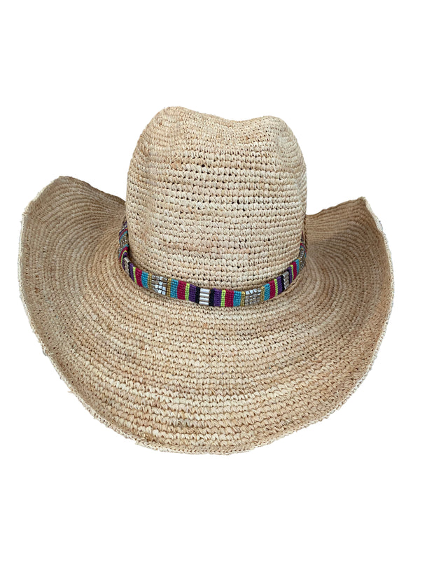Iridescent Sea Raffia Hat - Mexicana Hat Band
