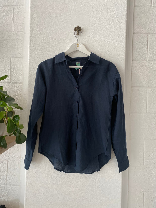 HOTEL Linen Long Sleeved Shirt Navy iridescent Sea South Fremantle