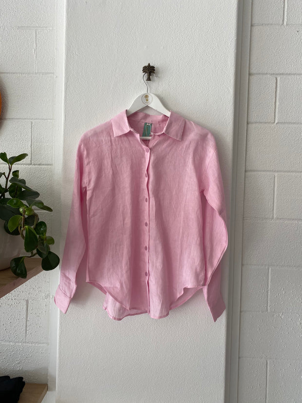 HOTEL Linen Long Sleeved Shirt Pink iridescent Sea South Fremantle