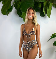Salle Tie  Front Bikini Top in Summer Leopard