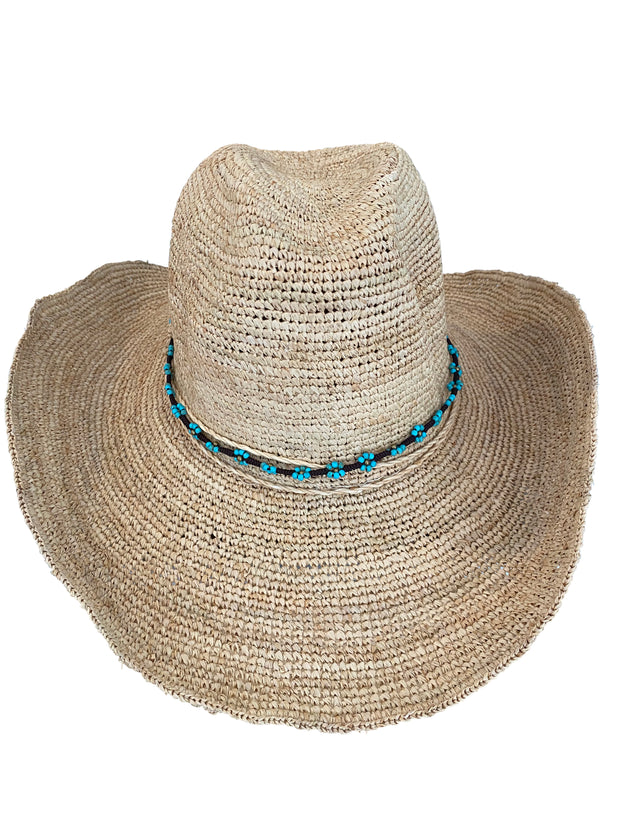 Iridescent Sea Raffia Hat - Turquoise Daisy Hat Band