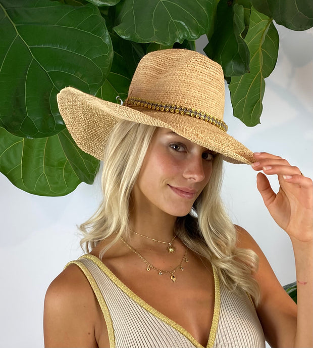 Iridescent Sea Raffia Hat with Gold Daisy Chain