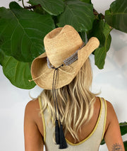 Iridescent Sea Raffia Hat with Stone Agate Hat Band