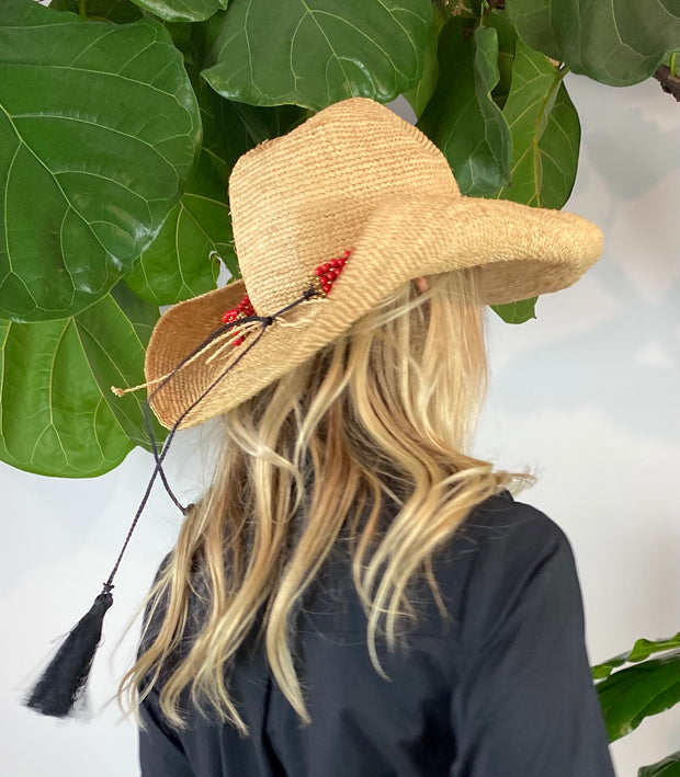 Iridescent Sea Raffia Hat with Cherry Blossom Agate Hat Band