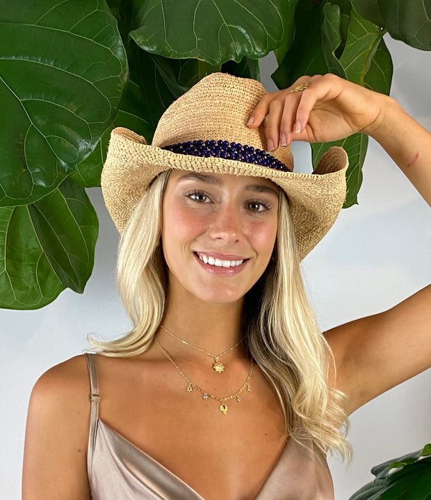Iridescent Sea Raffia Hat with Blue Lagoon Agate Hat Band