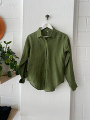 HOTEL Linen Long Sleeved Shirt olive green Iridescent Sea south Fremantle