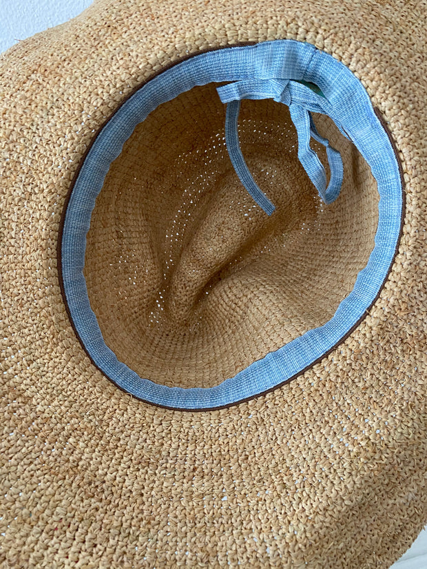 Iridescent Sea Raffia Hat with Ocean Tassel Hat Band