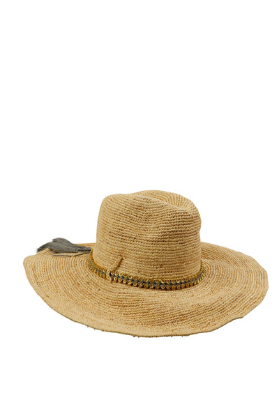 Raffia Hat with Gold Daisy Chain