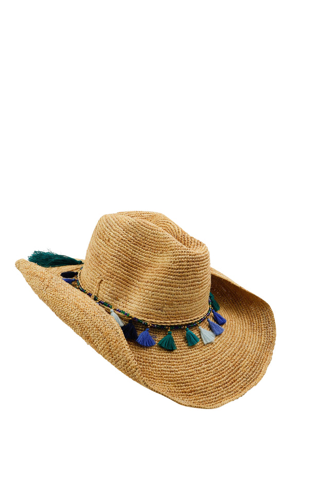 Iridescent Sea Hat Band in Ocean Tassel