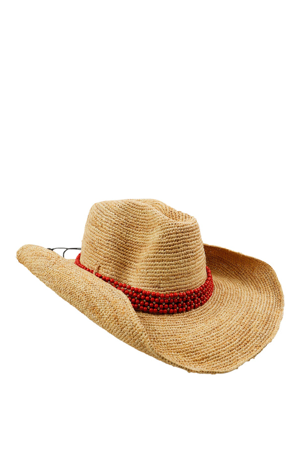 Raffia Hat with Cherry Blossom Agate Band