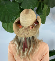 Iridescent Sea Raffia Hat with Sunset Tassel Hat Band