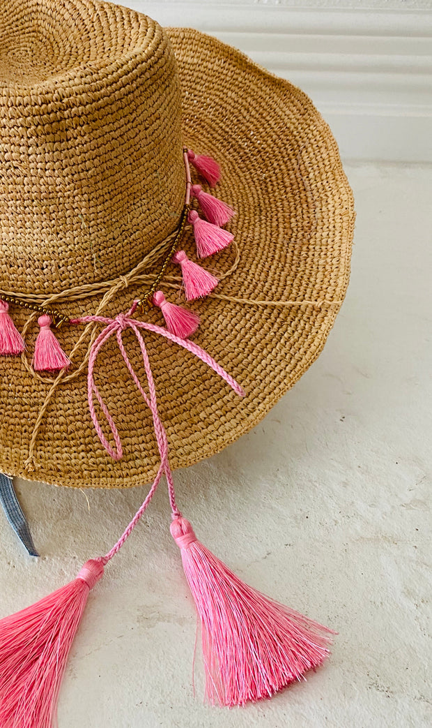 iridescent Sea Raffia Hat with Candy Tassel