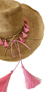 iridescent Sea Raffia Hat with Candy Tassel Hat Band