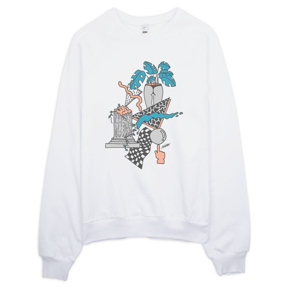 "Andrew Walker Sweatshirt ""Tropical Ruins"" White"