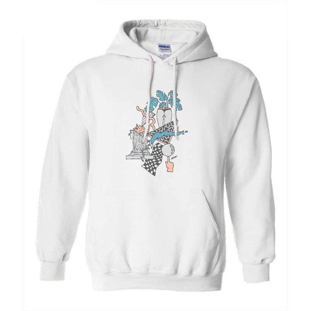 "ANDREW WALKER UNISEX HOODIE ""TROPICAL RUINS"" WHITE"