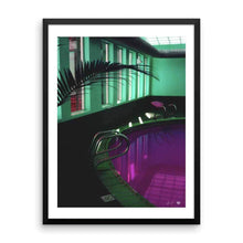 "Load image into Gallery viewer, ""Purple Pool and Neon Lights"" Art Print by Jesse Conner"