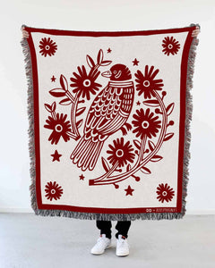 """Bird Nest"" Woven Art Blanket by Asis Percales"
