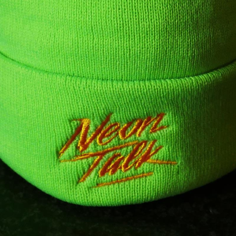 Neon Talk Knit Beanie. Neon Lime