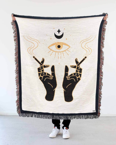 """Smoking Hands"" Woven Art Blanket by Daphna Sebbane"