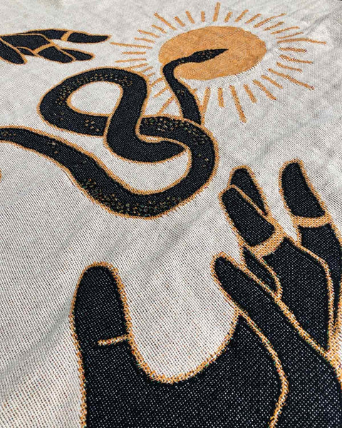 """Fortune Snakes"" Woven Art Blanket by Daphna Sebbane"